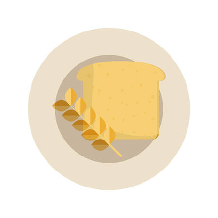 dish with bread slice and ear of wheat icon over white background vector illustration