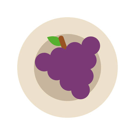 dish with grapes icon over white background colorful design vector illustration