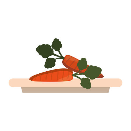 dish with carrots icon over white background colorful design vector illustration