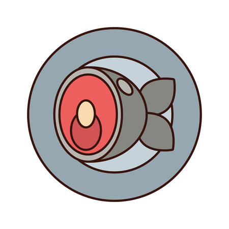 Plate with fish vector illustration