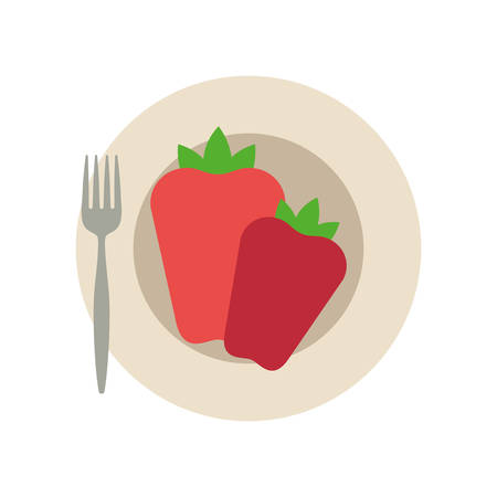 dish with peppers icon over white background colorful design vector illustration