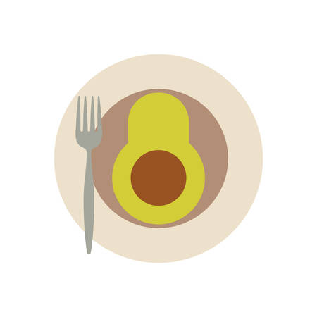 dish with avocado icon over white background colorful design vector illustration Ilustração