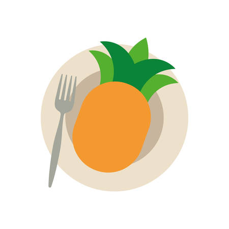 dish with pineapple icon over white background colorful design vector illustration Ilustração