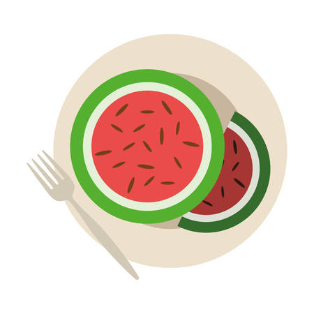 dish with watermelon slices icon over white background colorful design vector illustration
