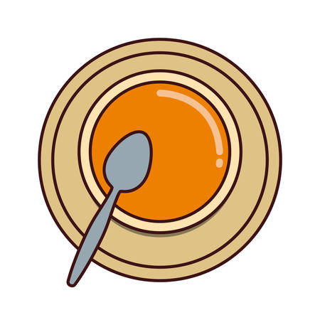 colorful bowl of soup over white background vector illustration