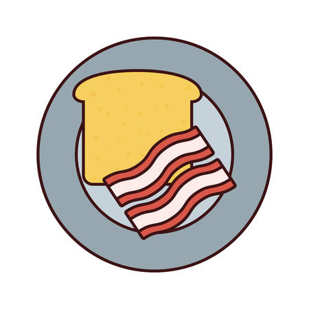 Plate with bread and bacon vector illustration