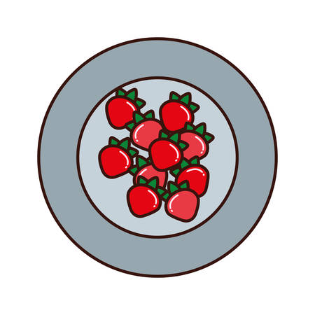 A plate with strawberry vector illustration Illustration