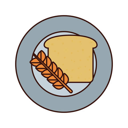 colorful  plate  with  bread   over white backgroud vector illustration Illustration