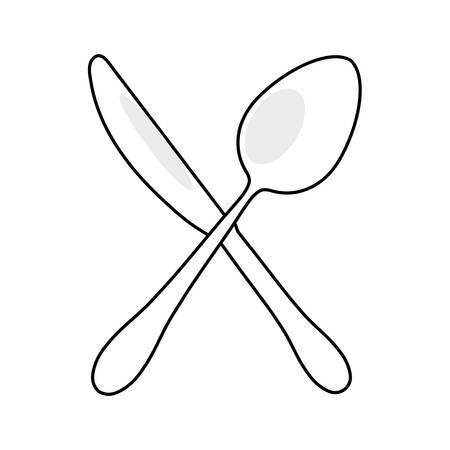 flat line uncolored cutlery over white background vector illustration