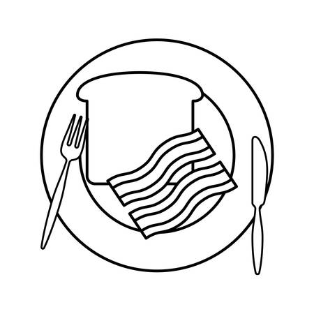 flat  line  uncolored  plate with bread and bacon over  white background  vector illustration