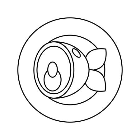 Flat line uncolored plate with fish over white background vector illustration