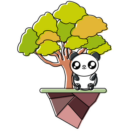 Colorful elm tree, panda bear and earth piece vector illustration