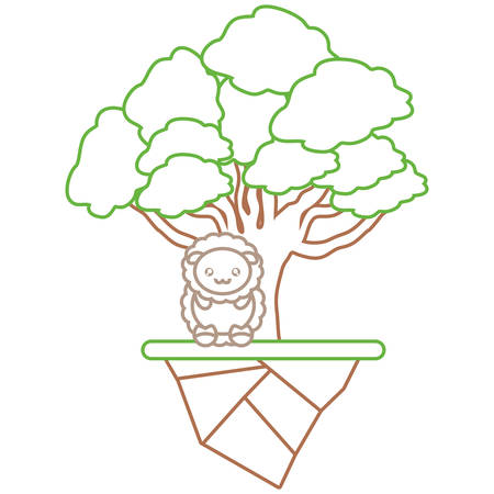 Colorful flat line elm tree, sheep and earth piece vector illustration