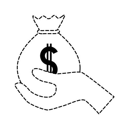 Uncolored hand holding money bag sticker over white backgrpound vector illustration