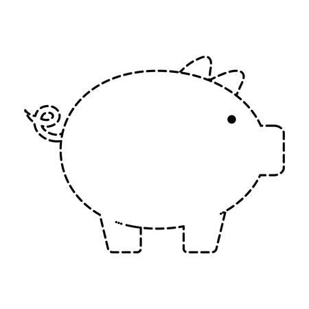 Uncolored piggybank sticker over white background vector illustration Illustration