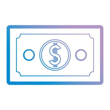 Flat line gradient blue purple bill over white background vector illustration.
