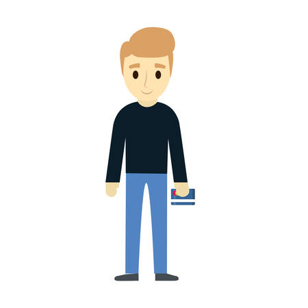 Standing man holding credit card over white background vector illustration.  イラスト・ベクター素材