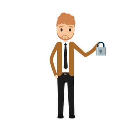 Standing businessman holding padlock over white background vector illustration.
