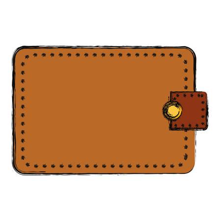 Brown wallet over white background vector illustration.