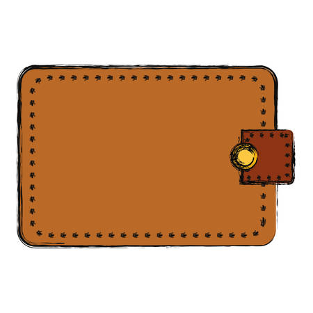 Brown wallet over white background vector illustration.