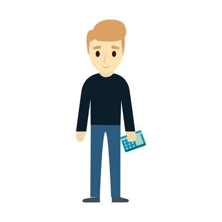 Standing man holding calculator over white background vector illustration.