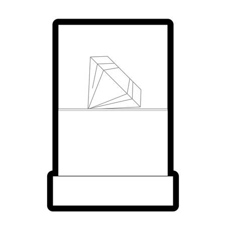 Flat line uncolored showcase with diamond over white background vector illustration  イラスト・ベクター素材