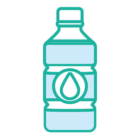 Water bottle with drop over white background vector illustration. Illustration