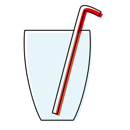 Glass with straw icon over white background vector illustration. Vetores