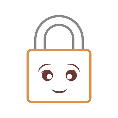 Kawaii locked padlock over white background vector illustration