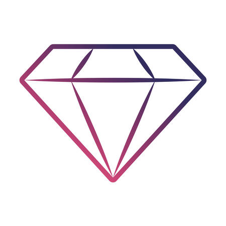 Flat line gradient purple diamond over white background vector illustration