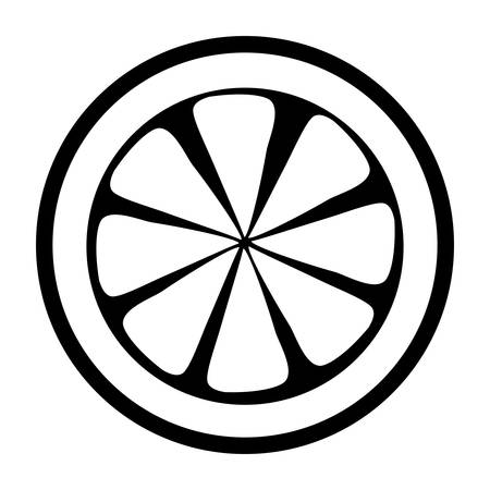 A lemon slice icon over white background vector illustration