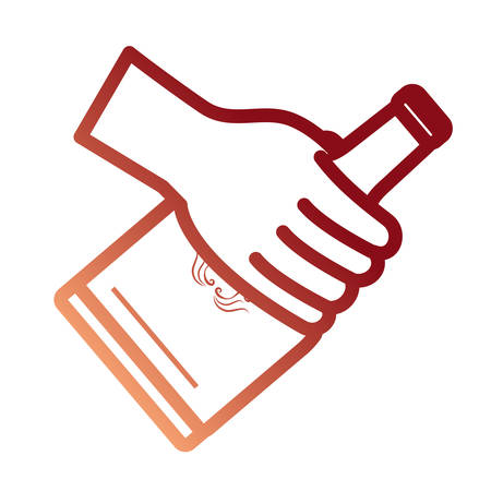 A hand holding a whisky bottle icon over white background colorful design vector illustration