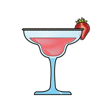 A cocktail with decorative strawberry slice icon over white background colorful design vector illustration