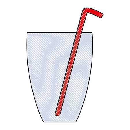 A glass with straw icon over white background vector illustration