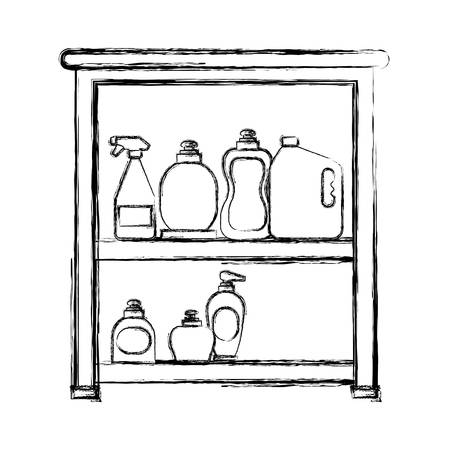 uncolored bathroom shelf with beauty products  doodle vector illustration
