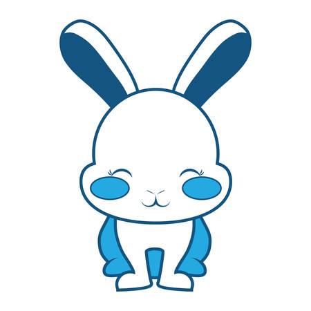 Animated smiling rabbit with blush and ears up on blue gradient illustration. Ilustração