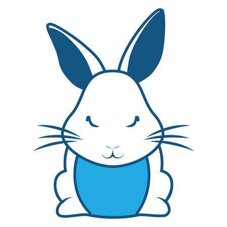 Animated whole body rabbit on blue illustration with whiskers and pointed ears.