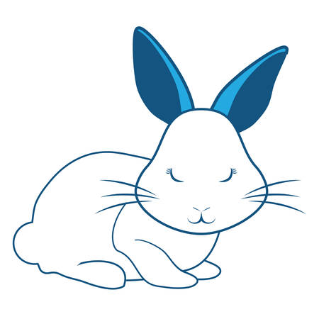 Animated whole body rabbit side view on blue illustration with whiskers and pointed ears.