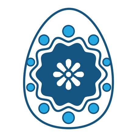 Easter egg with a flower design on blue illustration.