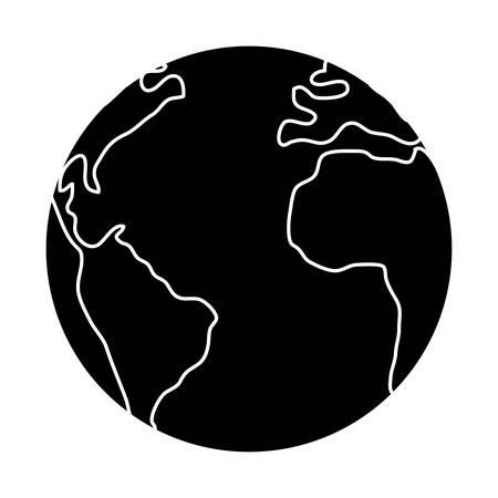 Earth planet icon over white background, vector illustration Ilustração