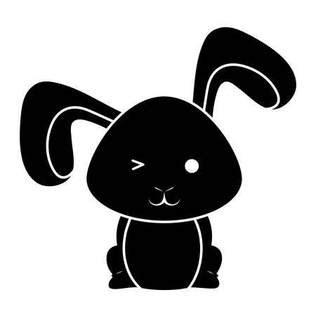 Cute rabbit icon illustration on white background.