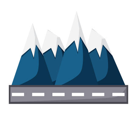 Road and alps peaks icon.