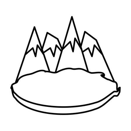 Alps peakes icon over white background, vector illustration