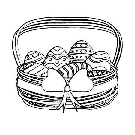 Easter eggs in basket design Ilustrace