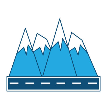 Road and mountain alps peaks icon
