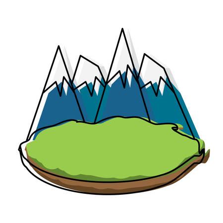 Alps peaks icon illustration on white background. Illustration