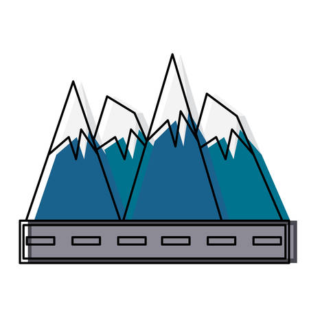 Road and alps peaks icon illustration on white background. Illustration