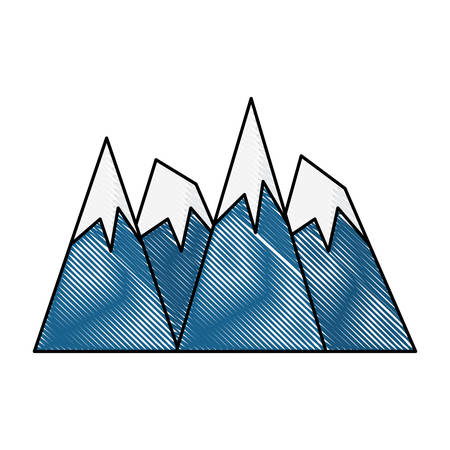 Mountain Alps peaks icon over white background, vector illustration