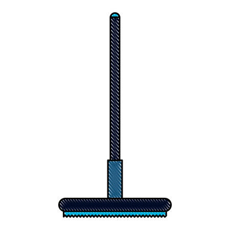 A curling broom icon over white background, colorful design. vector illustration