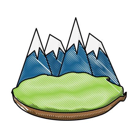 Alps peak icon over white background, vector illustration. Illustration